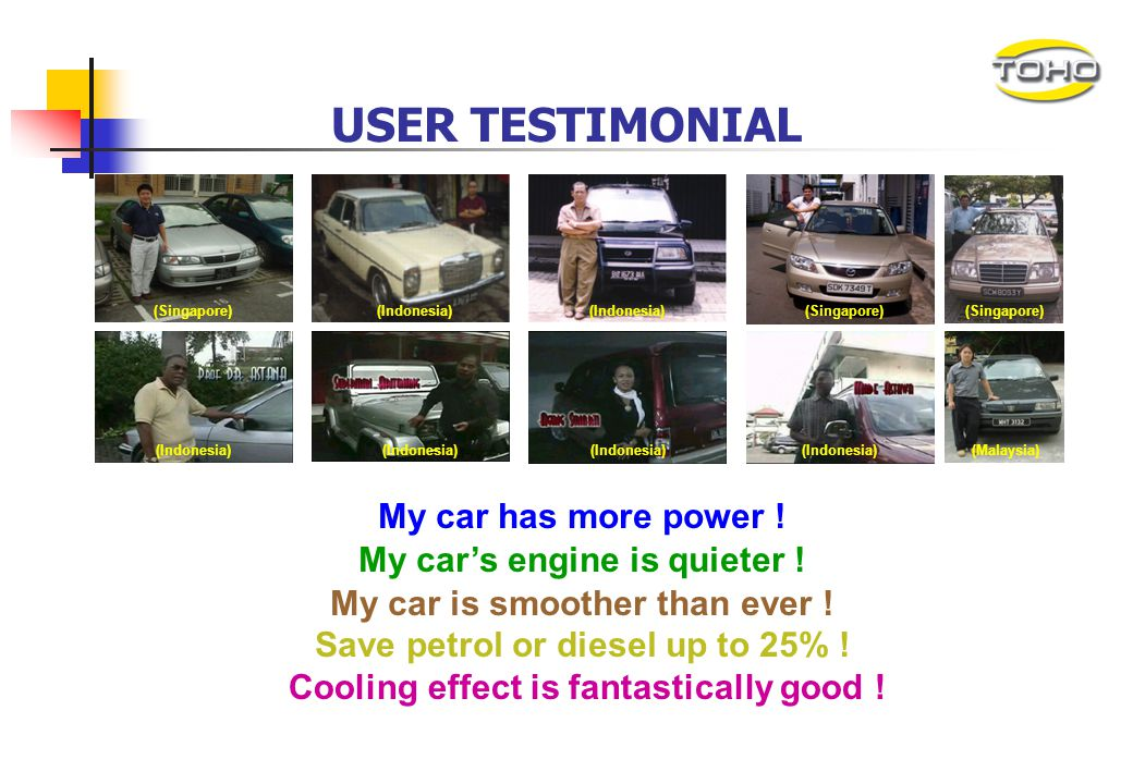 USER TESTIMONIAL My car has more power ! My car's engine is quieter !