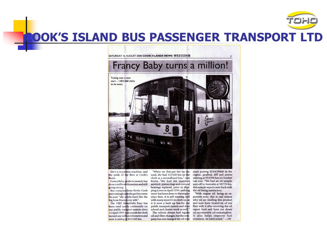 COOK'S ISLAND BUS PASSENGER TRANSPORT LTD