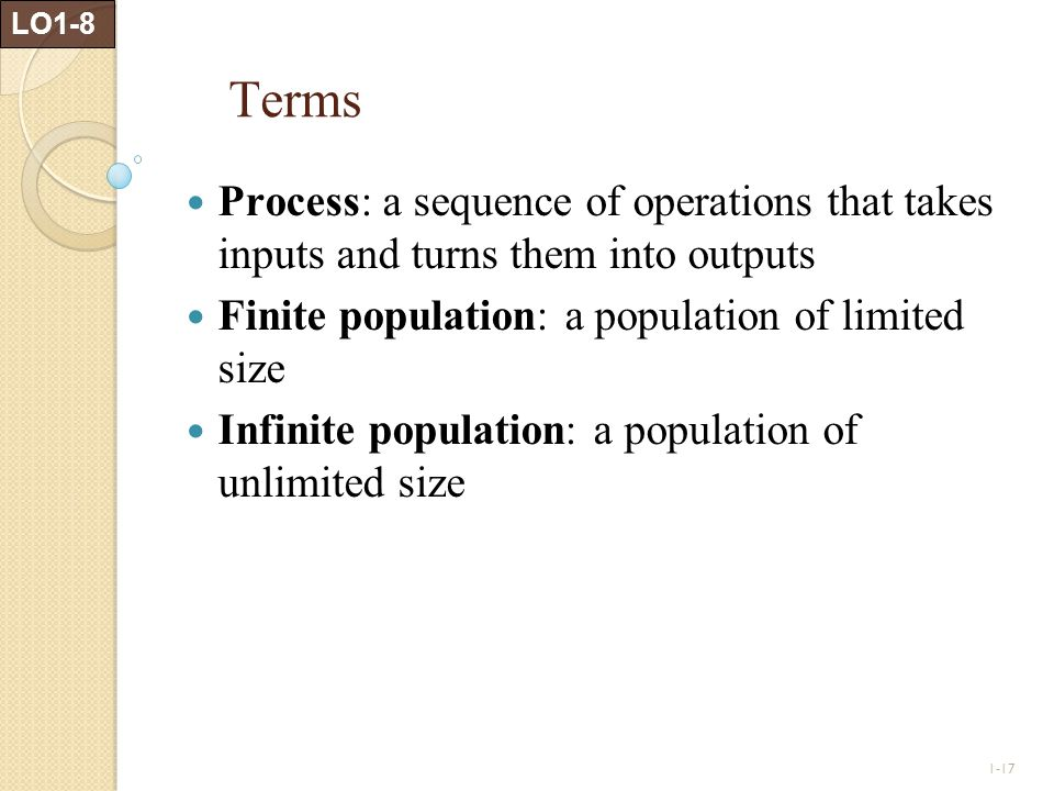 LO1-8 Terms. Process: a sequence of operations that takes inputs and turns them into outputs. Finite population: a population of limited size.
