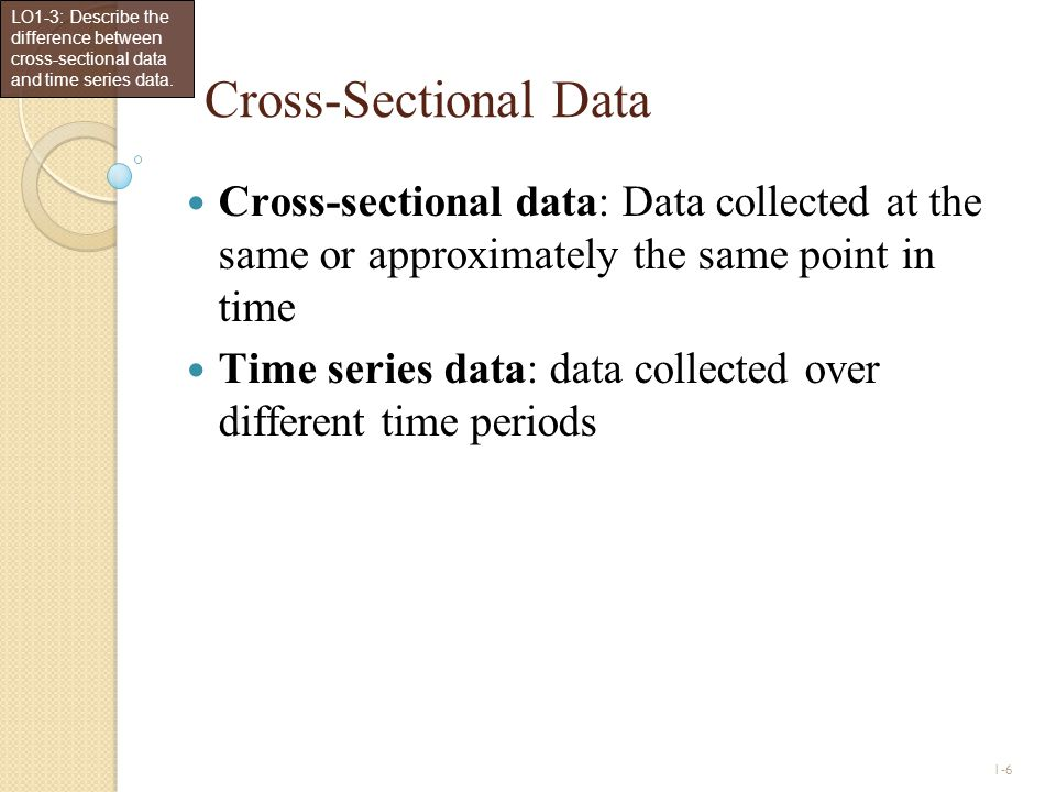 LO1-3: Describe the difference between cross-sectional data and time series data.