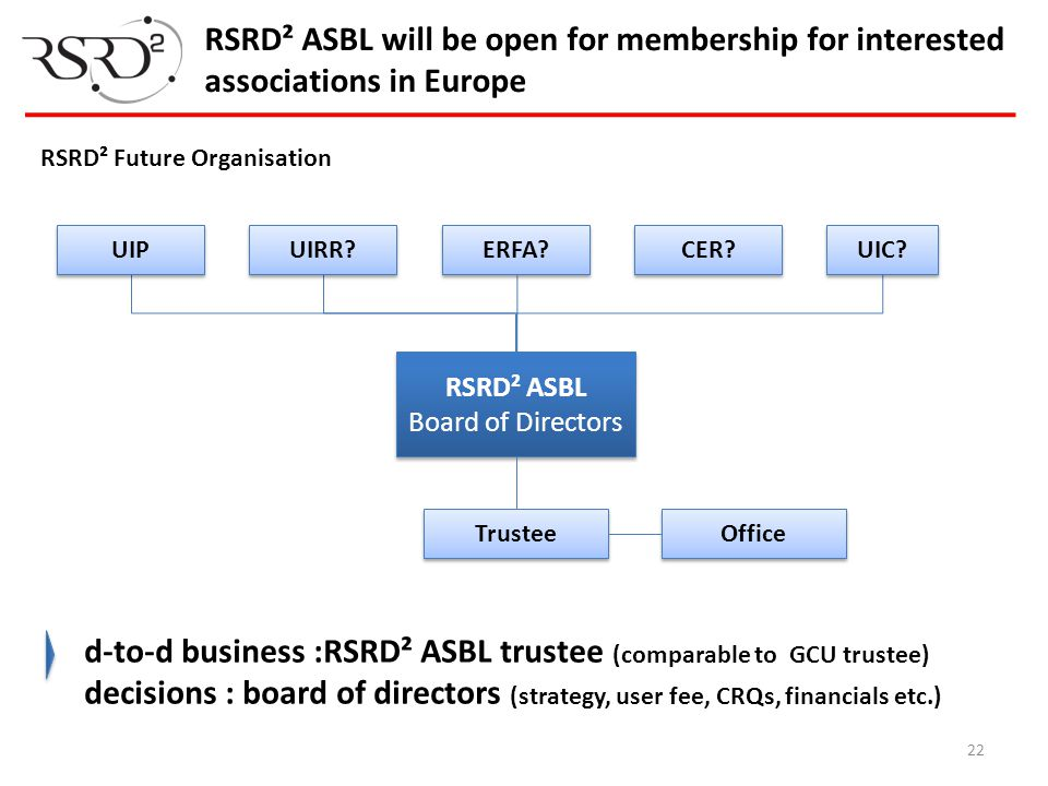 d-to-d business :RSRD² ASBL trustee (comparable to GCU trustee)