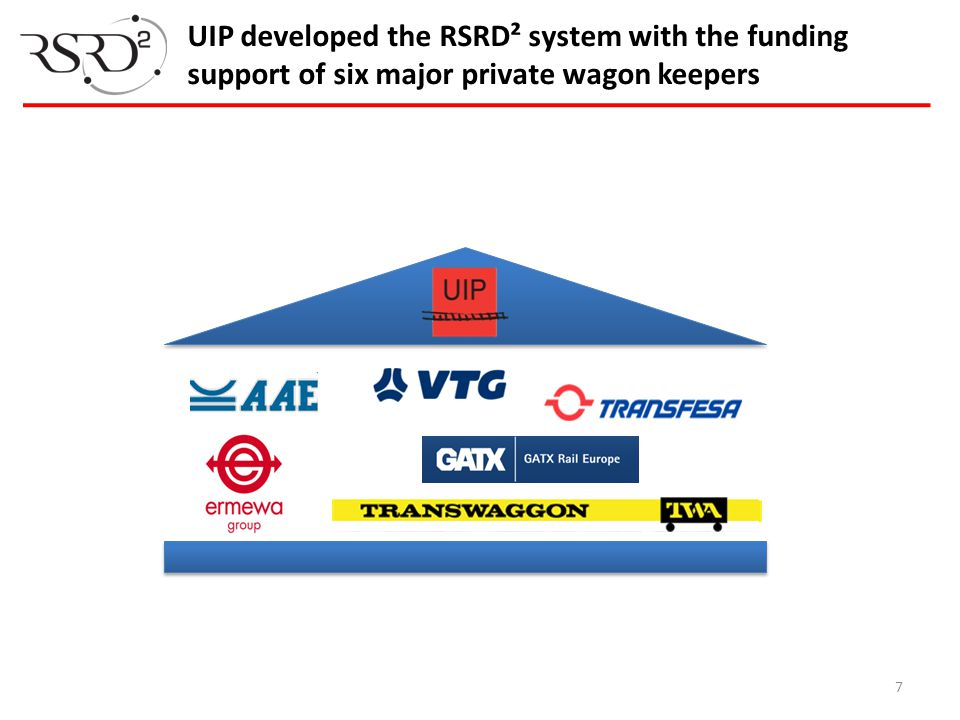 UIP developed the RSRD² system with the funding support of six major private wagon keepers