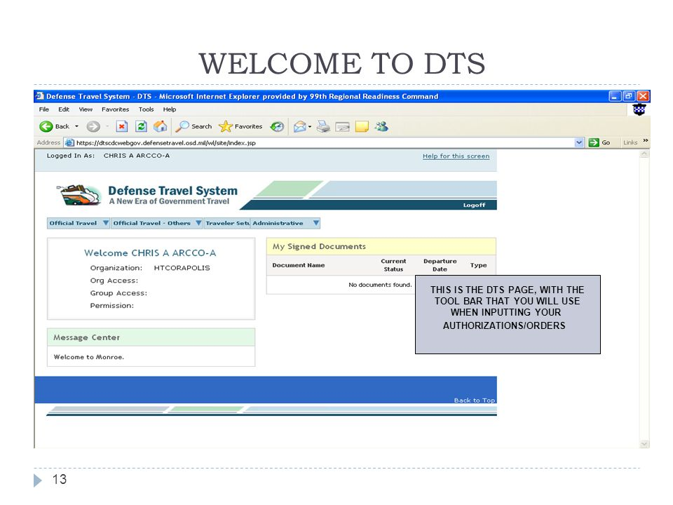 THIS IS THE DTS PAGE, WITH THE TOOL BAR THAT YOU WILL USE