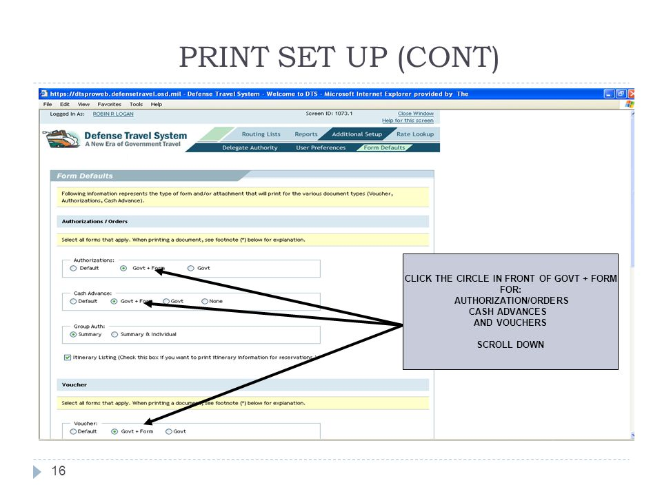CLICK THE CIRCLE IN FRONT OF GOVT + FORM AUTHORIZATION/ORDERS