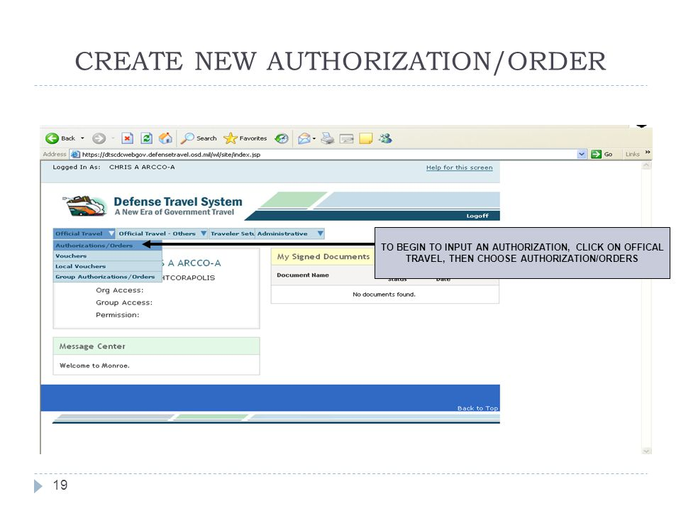 CREATE NEW AUTHORIZATION/ORDER