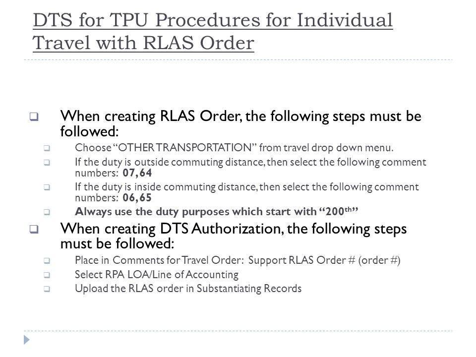 DTS for TPU Procedures for Individual Travel with RLAS Order