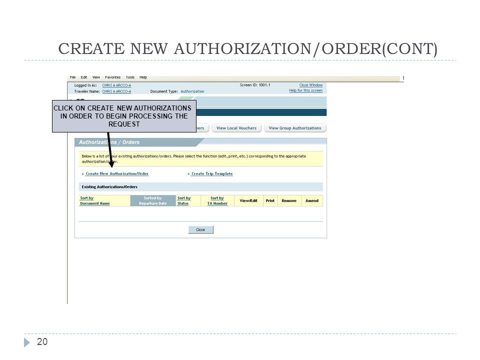 CREATE NEW AUTHORIZATION/ORDER(CONT)