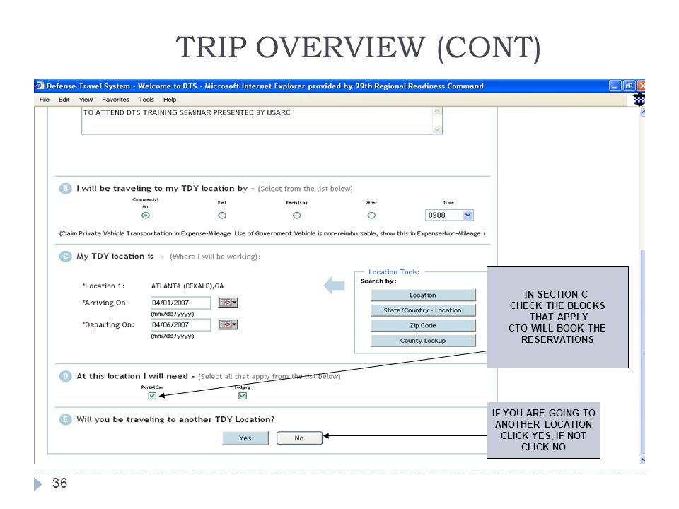 TRIP OVERVIEW (CONT) IN SECTION C CHECK THE BLOCKS THAT APPLY