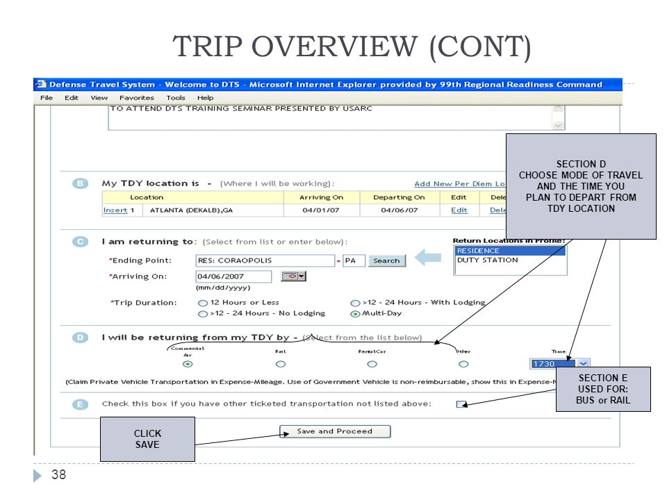 TRIP OVERVIEW (CONT) SECTION D CHOOSE MODE OF TRAVEL AND THE TIME YOU