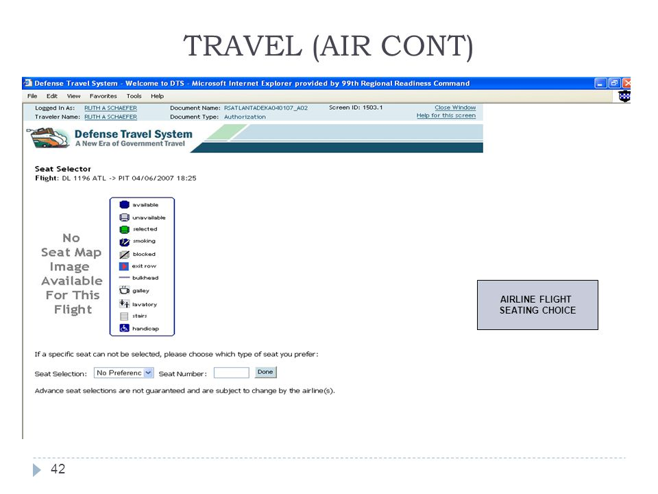 TRAVEL (AIR CONT) AIRLINE FLIGHT SEATING CHOICE