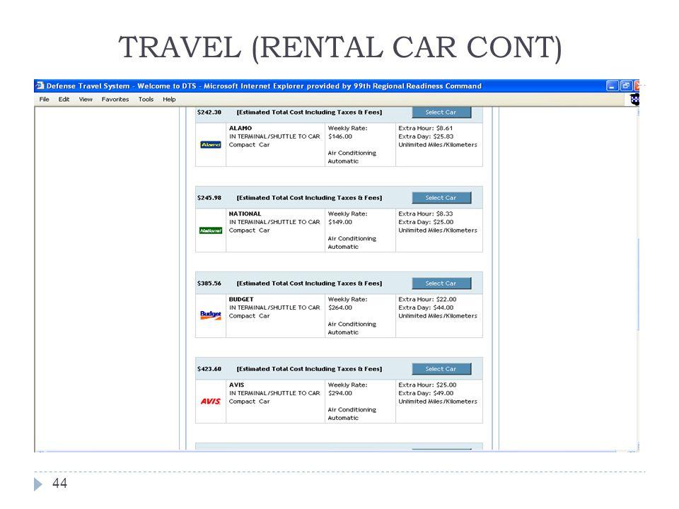 TRAVEL (RENTAL CAR CONT)