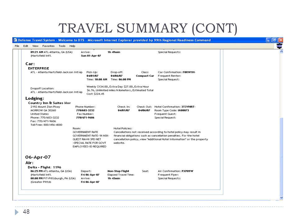 TRAVEL SUMMARY (CONT)