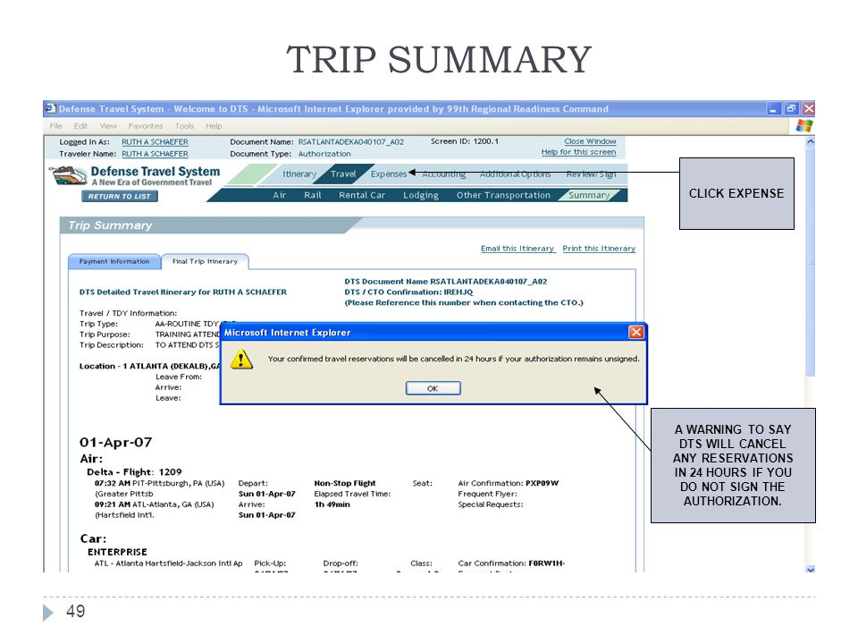 TRIP SUMMARY CLICK EXPENSE A WARNING TO SAY DTS WILL CANCEL