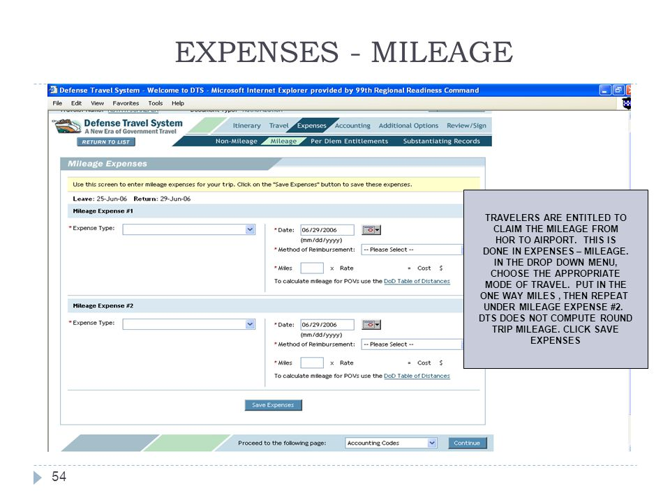 EXPENSES - MILEAGE TRAVELERS ARE ENTITLED TO CLAIM THE MILEAGE FROM