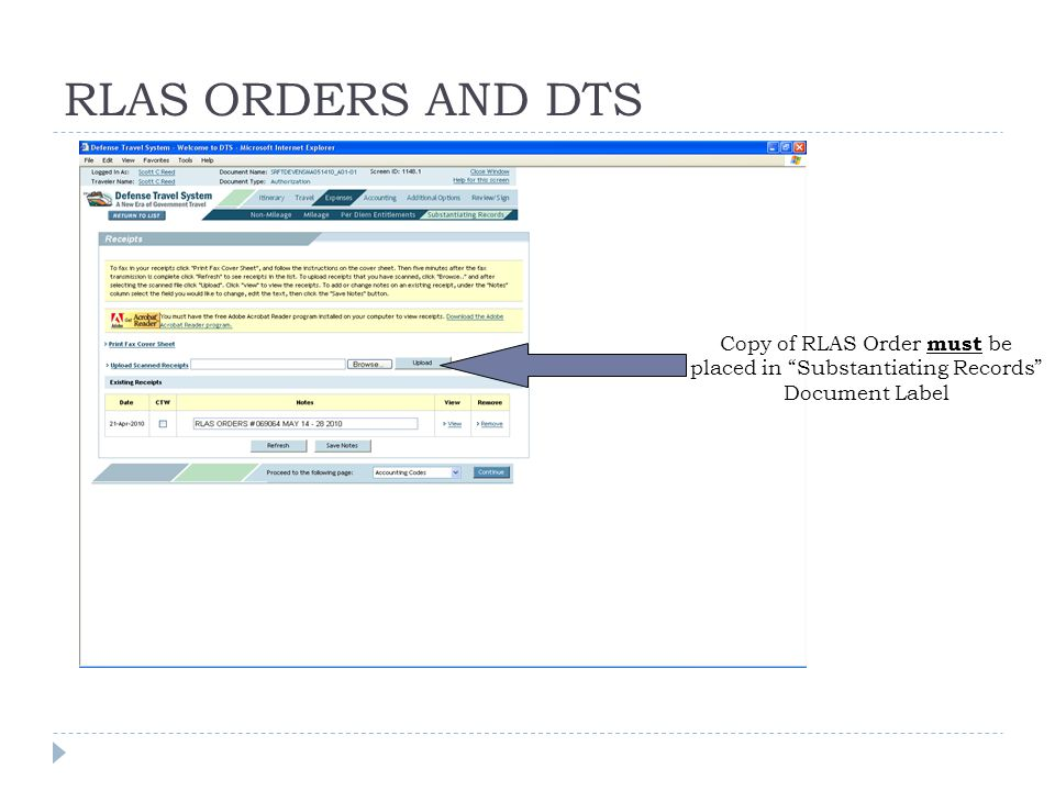RLAS ORDERS AND DTS Copy of RLAS Order must be placed in Substantiating Records Document Label