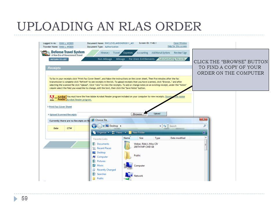 UPLOADING AN RLAS ORDER