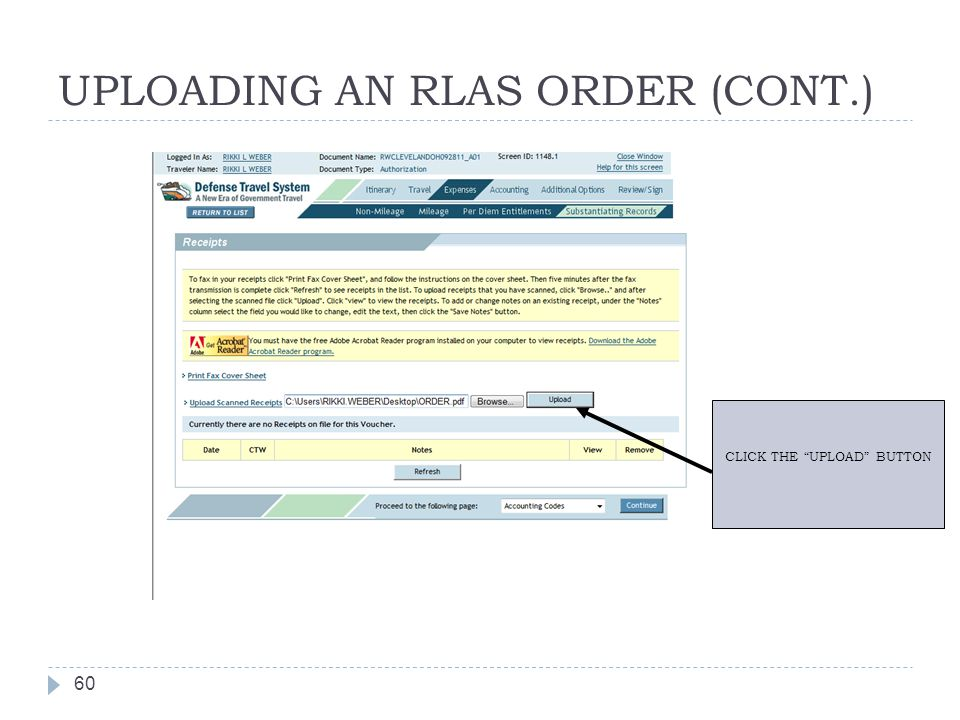UPLOADING AN RLAS ORDER (CONT.)