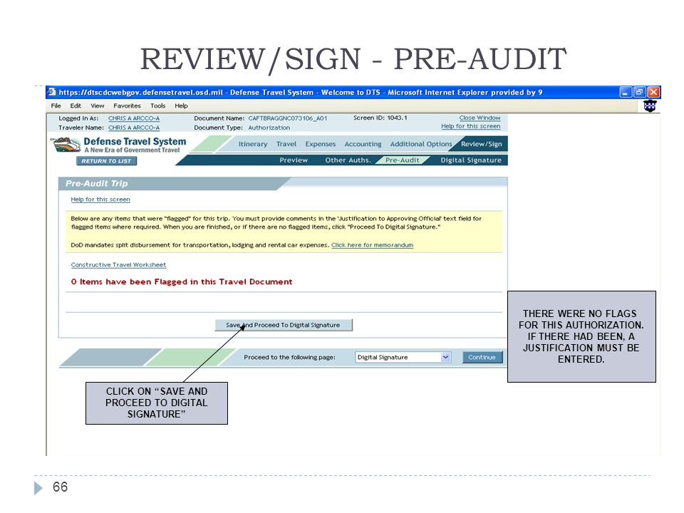 REVIEW/SIGN - PRE-AUDIT