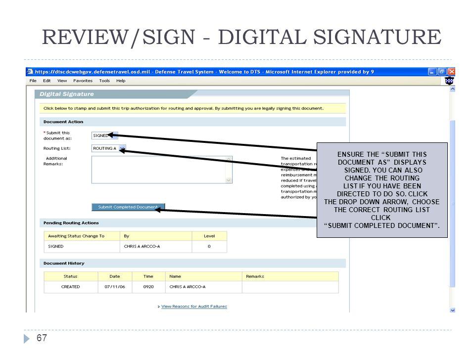 REVIEW/SIGN - DIGITAL SIGNATURE