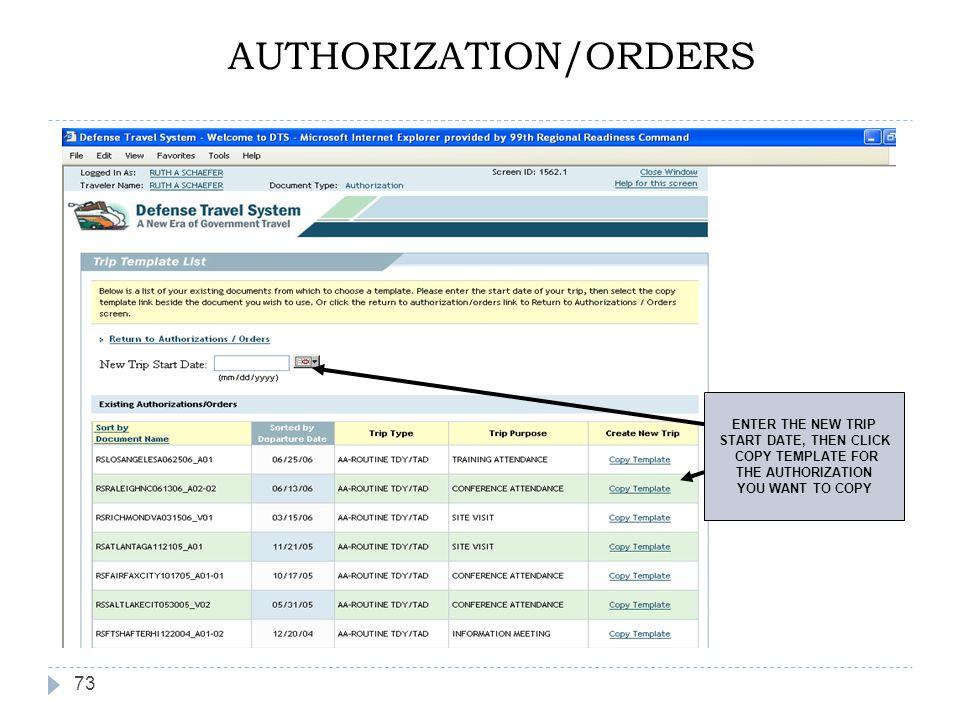 AUTHORIZATION/ORDERS