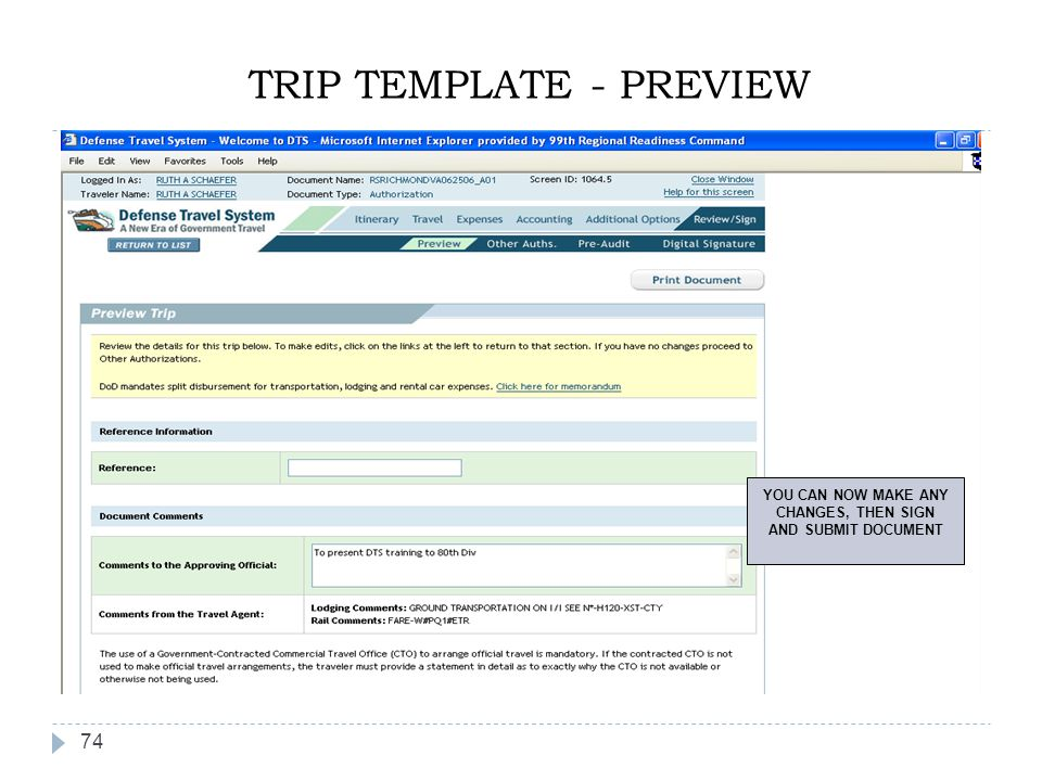 TRIP TEMPLATE - PREVIEW
