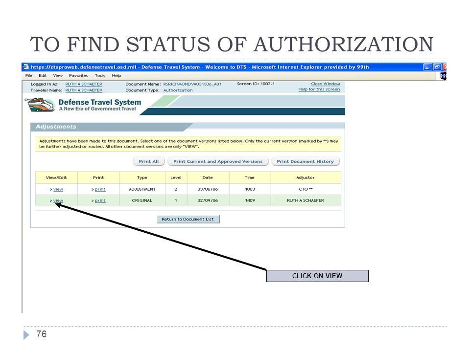 TO FIND STATUS OF AUTHORIZATION