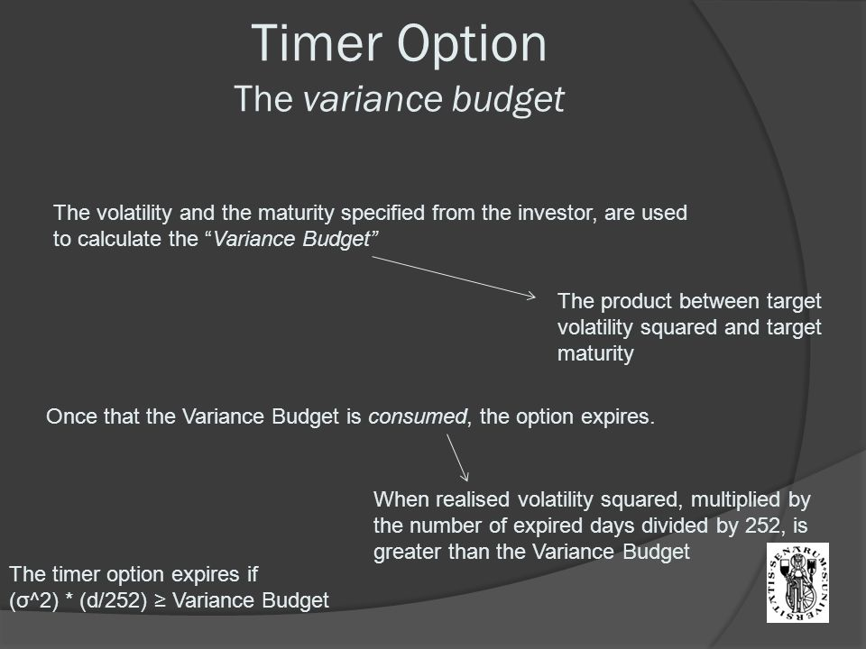 Timer Option The variance budget