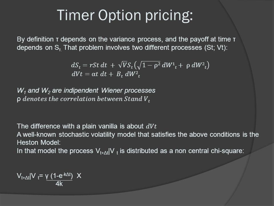 Timer Option pricing: