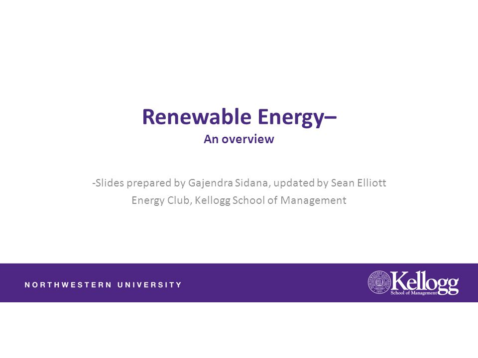 Renewable Energy– An overview
