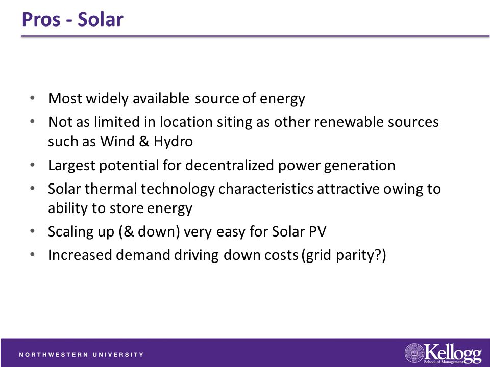 Pros - Solar Most widely available source of energy