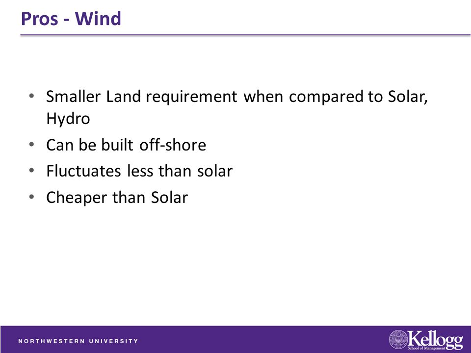 Pros - Wind Smaller Land requirement when compared to Solar, Hydro