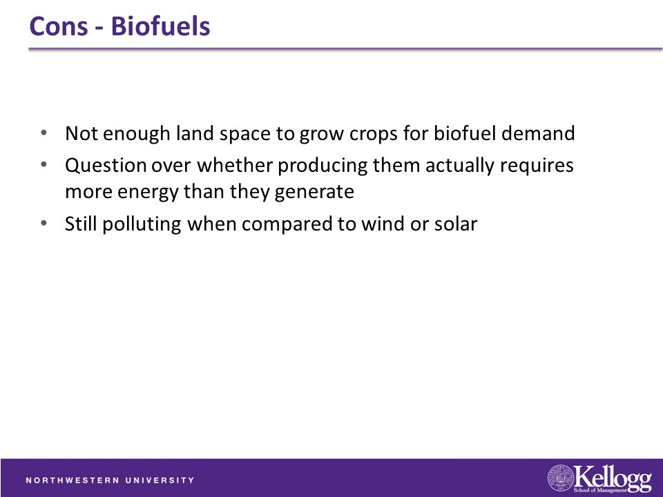 Cons - Biofuels Not enough land space to grow crops for biofuel demand
