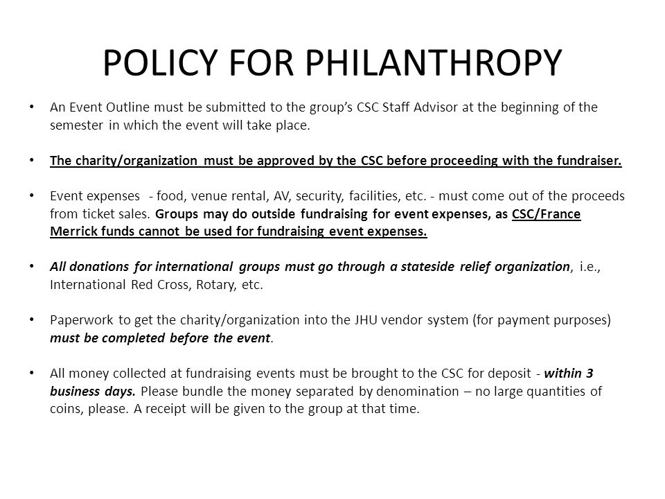 POLICY FOR PHILANTHROPY