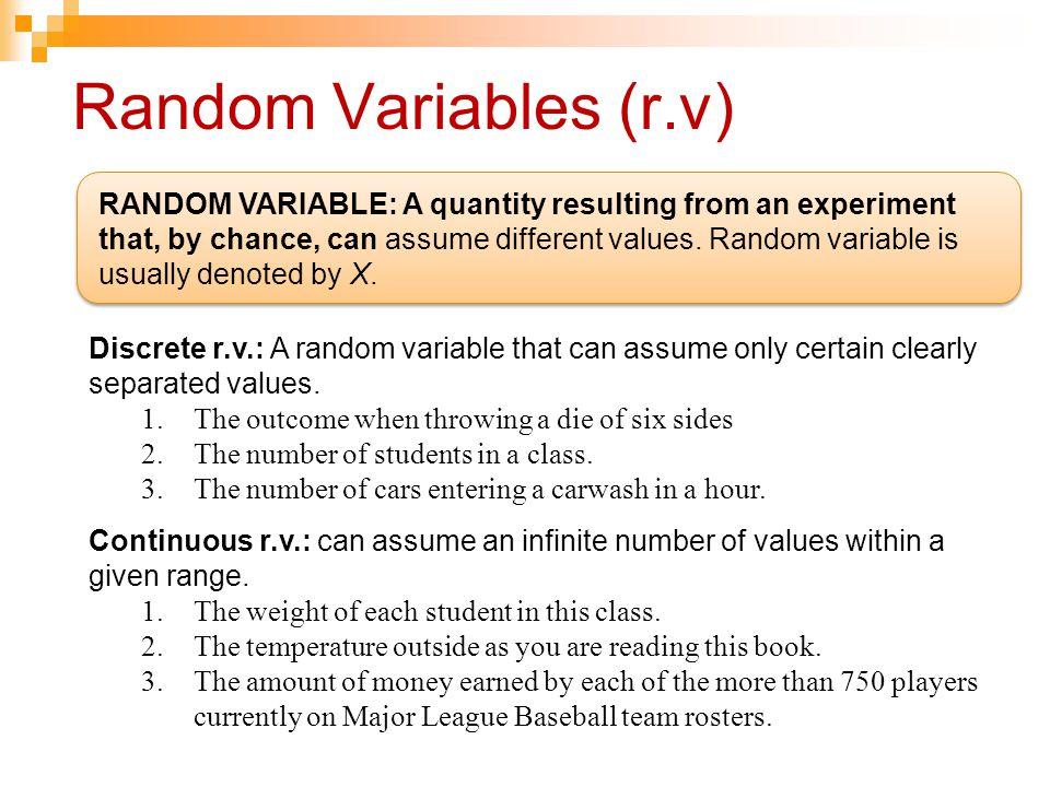 Random Variables (r.v)