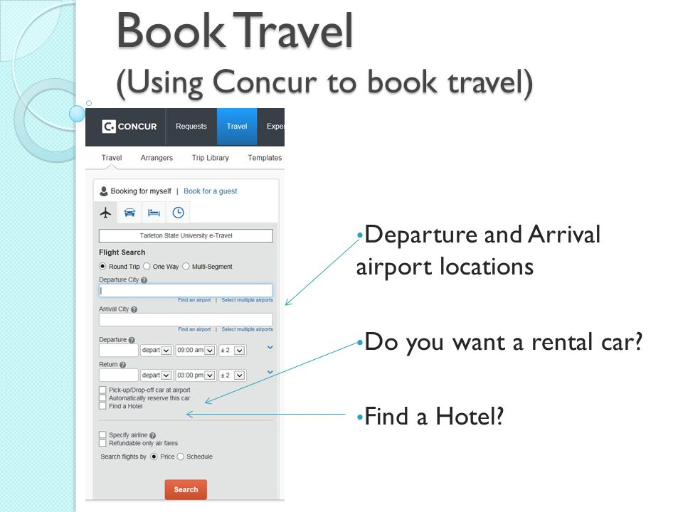 Book Travel (Using Concur to book travel)