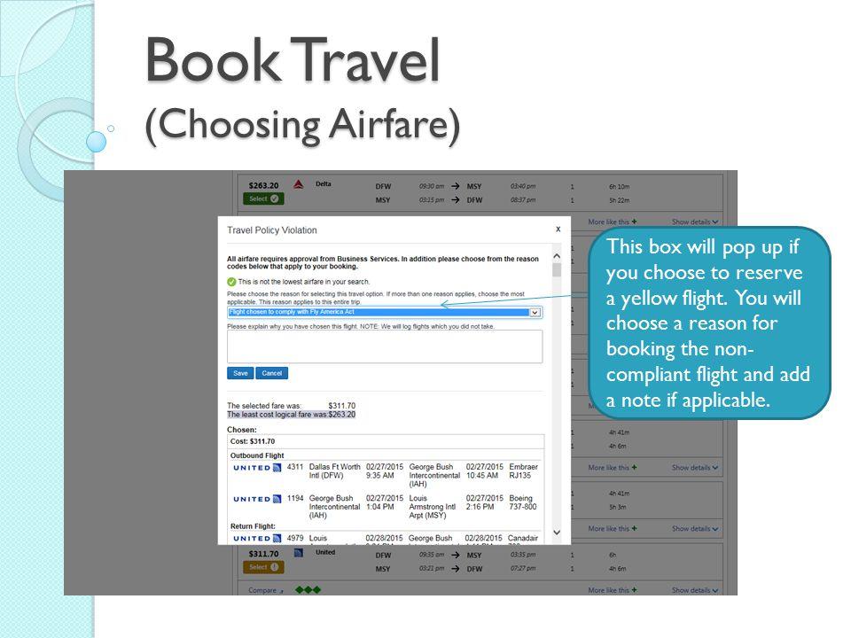 Book Travel (Choosing Airfare)
