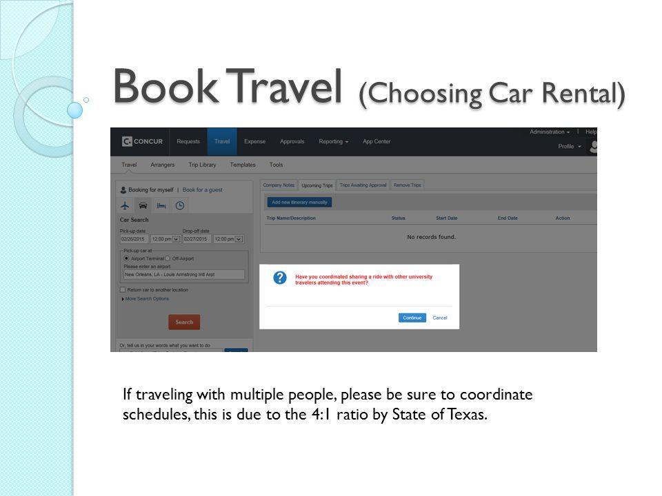 Book Travel (Choosing Car Rental)