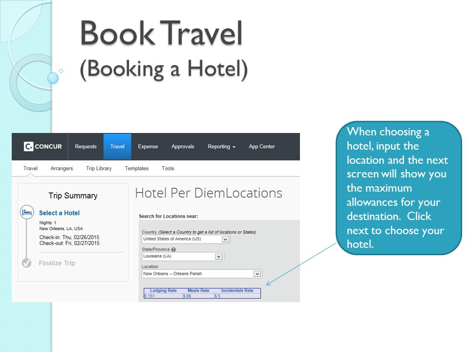 Book Travel (Booking a Hotel)