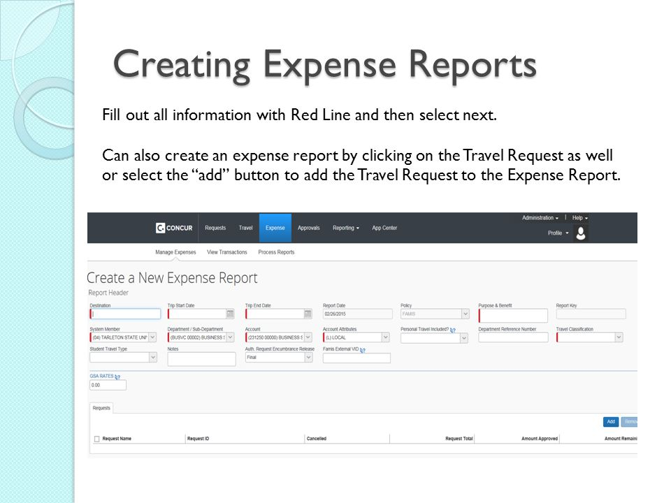 Creating Expense Reports