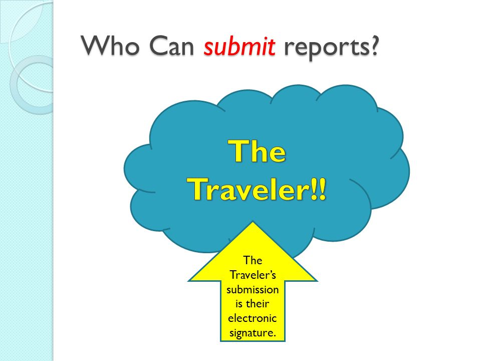 The Traveler's submission is their electronic signature.