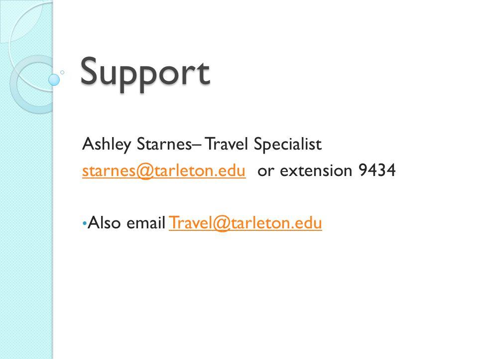 Support Ashley Starnes– Travel Specialist