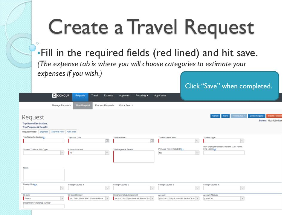 Create a Travel Request