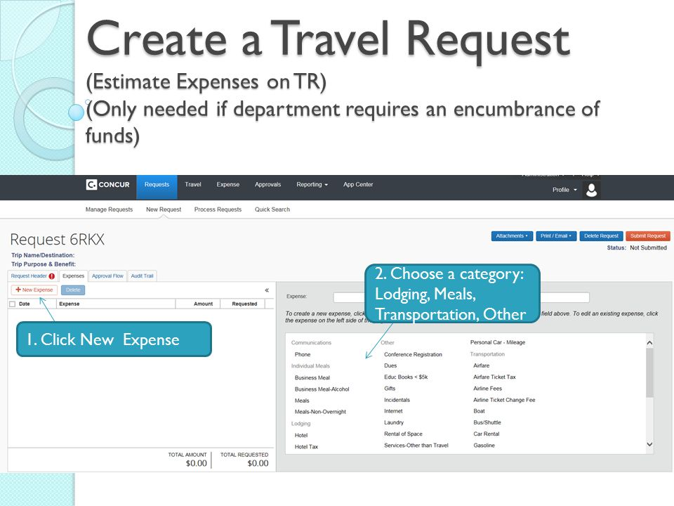 Create a Travel Request (Estimate Expenses on TR) (Only needed if department requires an encumbrance of funds)