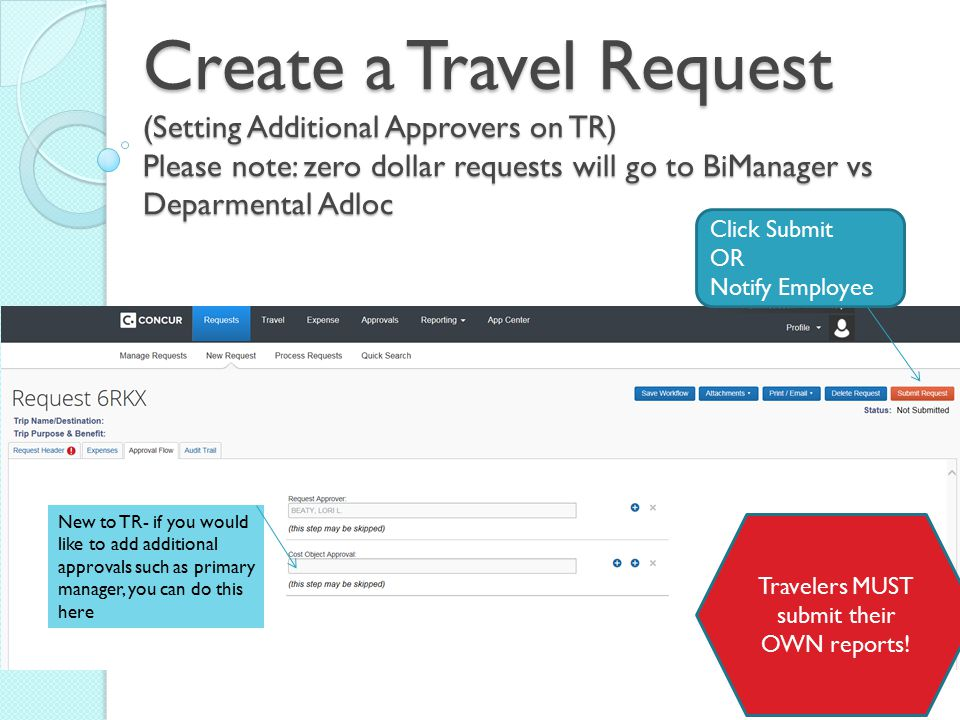 Travelers MUST submit their OWN reports!
