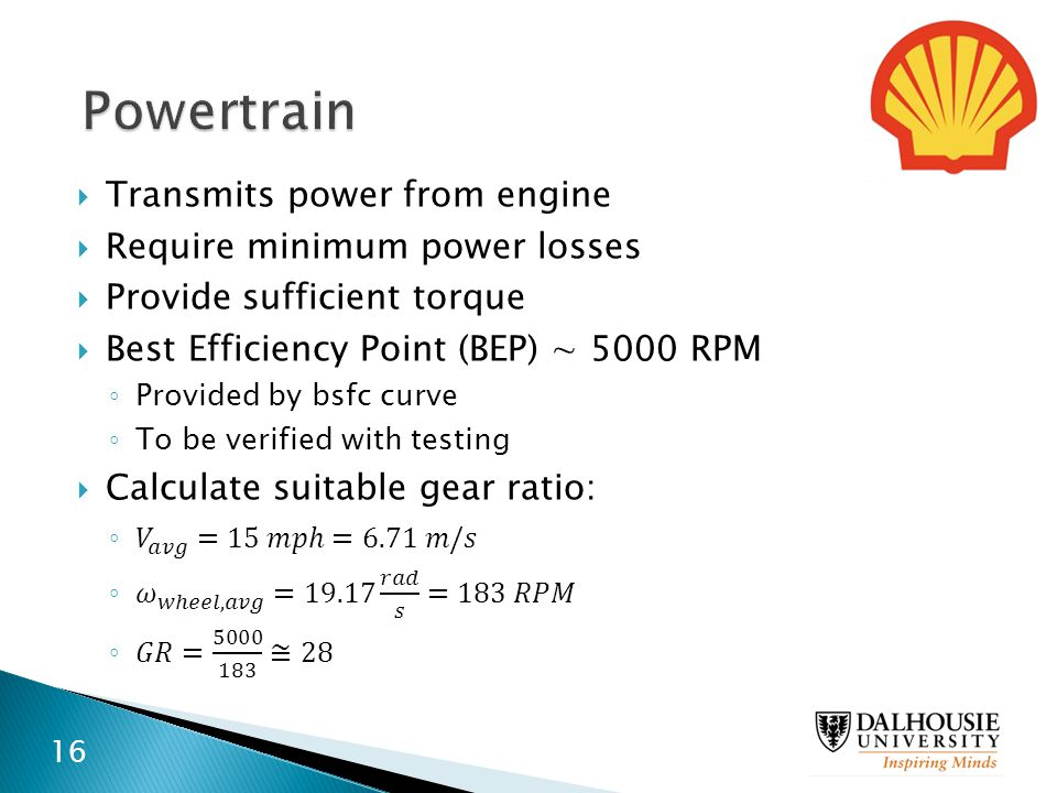 Powertrain Transmits power from engine Require minimum power losses