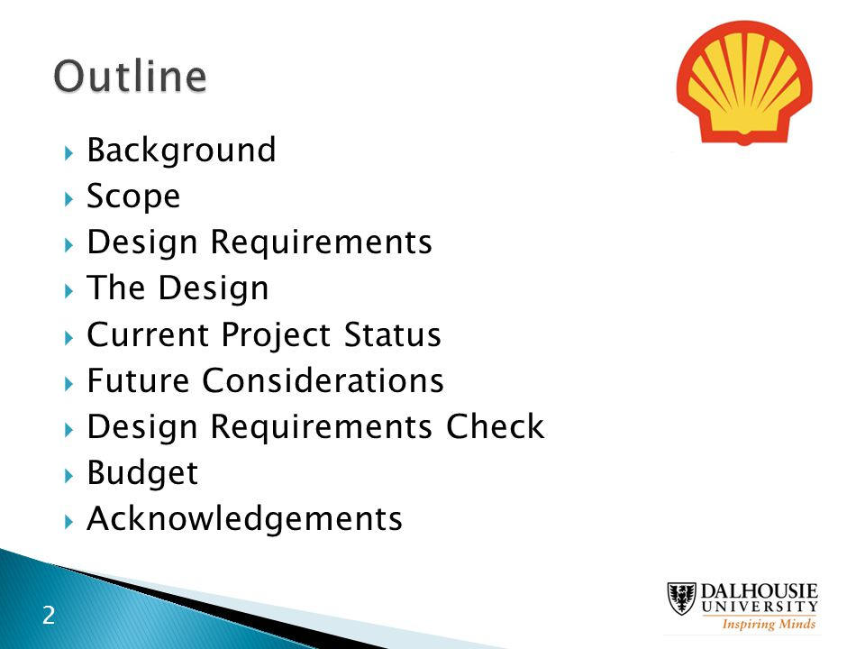 Outline Background Scope Design Requirements The Design