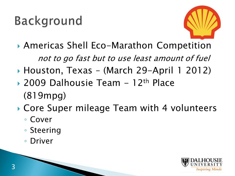 Background Americas Shell Eco-Marathon Competition