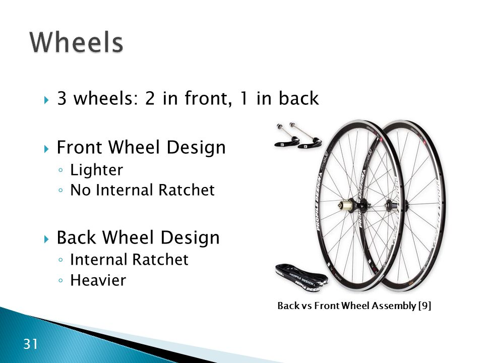 Wheels 3 wheels: 2 in front, 1 in back Front Wheel Design