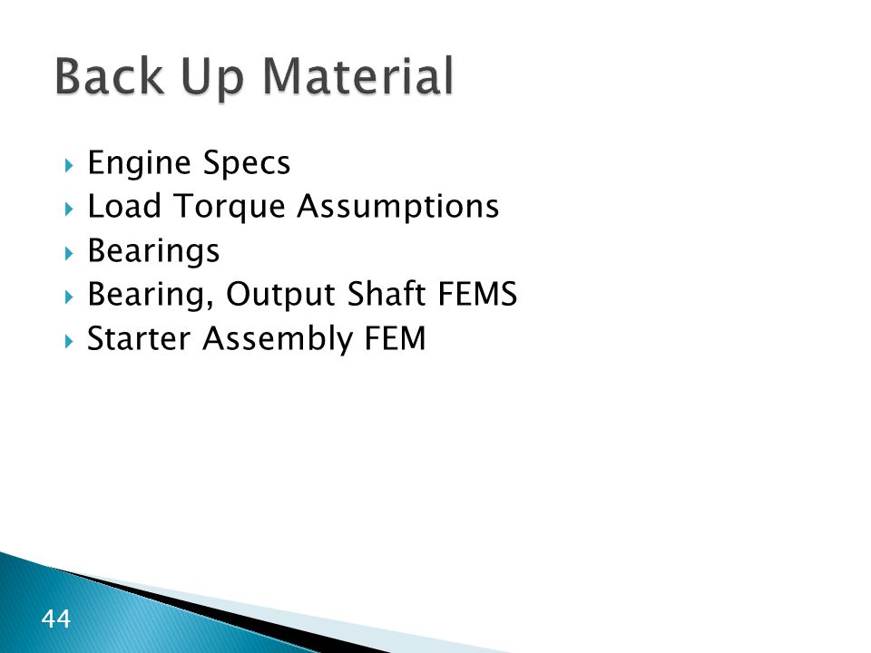 Back Up Material Engine Specs Load Torque Assumptions Bearings