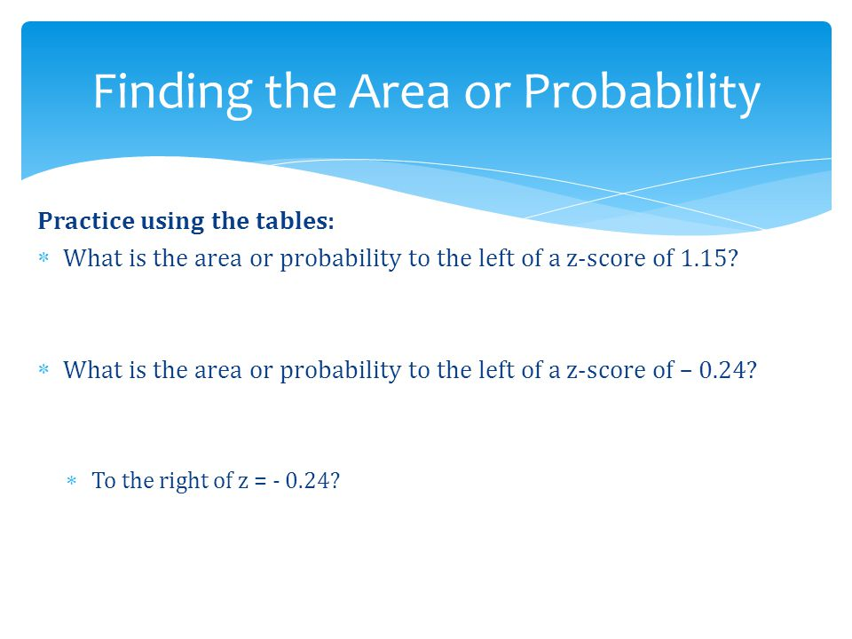 Finding the Area or Probability
